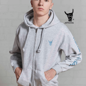 ushiwear, british made hoodies, tshirts and vest, young man wearing grey hoodie made in britain with ushiwear logo, british made men's clothes