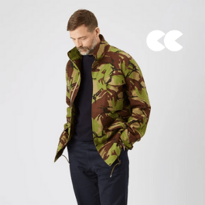 community clothing, man wearin army camo jacket and jeans, british made men's clothing
