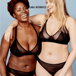 british made underwear, category image showing lara intimates text logo for ethical womens underwear, black and white women in black underwear with arms around each other, lara intimates sustainable perfect fitting bras
