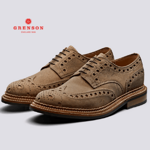 grenson england 1866 white text on a red background with a letter g on a white flower logo, british made men's shoes, trainer brands uk, men's brogue suede brown shoes