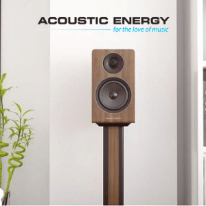 tall freestanding loudspeaker in living room by acoustic energy made in britain, british audio brands, british made speakers