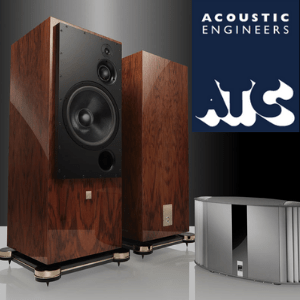 home speakers wood effect with silver audio player by atc acoustics, british made speakers, british hifi brands, british audio brands