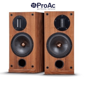two wood effect speakers on a white background by proac made in britain, loudspeakers made in uk