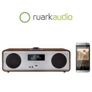 ruark radio cd player next to a smart phone on white background made in britain, british made audio brands
