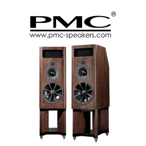 a pair of wooden effect pmc speakers on a white background,