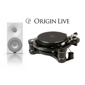 high end black turntable and silver subwoofer loudspeeker by origin live with white background