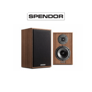 two spendor speakers on a white background with spendor logo, uk speaker brands, british audio brands, made in uk