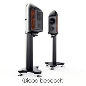two large free standing loudspeakers with white background by wilson benesch, british audio brands, british made turntables