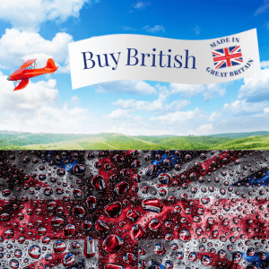 red aeroplan flying a buy british banner with made in great britain flag above green fiels and union jack flag covered in raindrops