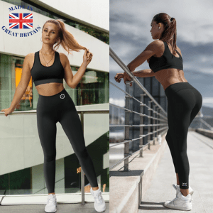 Blossom and wren, made in britain range of yoga premium activewear leggings modelled by a fit young woman with nice bum