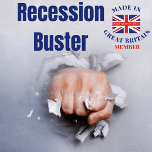 recession buster, fist punching through wall to come through the other side of the uk recession with made in great britain advertising for just £10 a week to drive more website traffic and sales, join us, manufacturers in UK