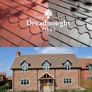 roof tiles in orange and slate above a picture of a tiled roffed house, uk home improvement