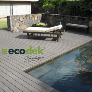 ecodeck, eco friendly decking next to a pool manufactured in the uk,
