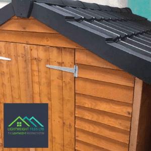 lightweight tiles, garden shed with lightweight tiles, uk diy, uk home improvement,