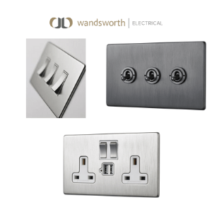 light switches and plug sockets with usb ports made in great britain by wandsworth electrical,