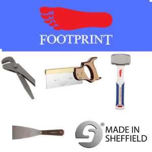 footprint tools made in sheffield hammer dovetail saw filler knife and wrench, british tools, british made tools