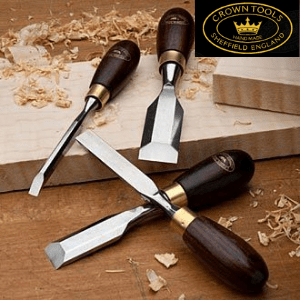 crown woodworking and turning tools made in sheffield on a work bench,