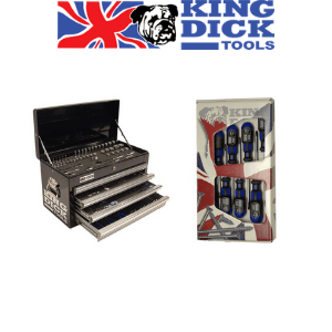 king dick tools union jack british flag with bulldog logo next to socket storage box and screwdriver set,