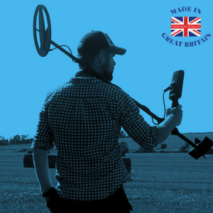 british technology products, man with uk metal detector brand by c scope over his shoulder in a british field metal detecting, cctv home monitoring vixen products