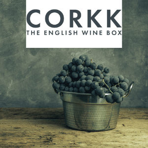corkk th english wine box, british drinks brand, english wine box selection of bottles by subscription for the perfect gift for wine lovers, bucket of grapes to make english wine