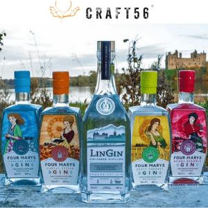 craft 56, scottish spirits and scottish artisan gin subscriptions, bottles of artisan gin selection displayed in scottish background, british drinks brands