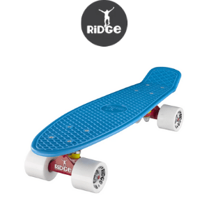 ridge plastic blue cruiser skateboard made in britain by Ridge