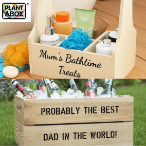 wooden crate box for dads beers made in britain, wooden storage box for mums bathtime treats and bottles made in uk, british gifts