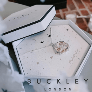 buckley london, pretty pentagon gift box with a silver woman's chain made in uk by buckley london jewellers