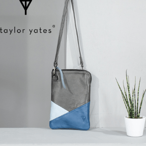 taylr yates handbags, grey white and blue doris cross body shoulder bag by taylor yates made in england