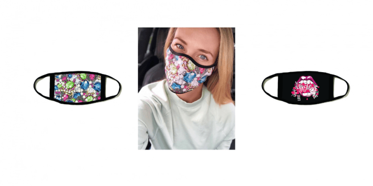 woman in a car wearing a printed jewell barrier face mask by Natalie B Coleman an Irish clothes and face masks designer