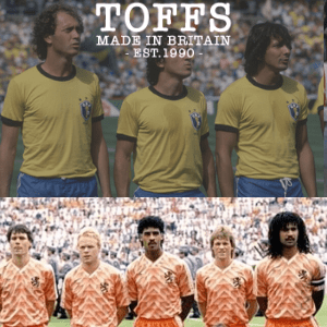 brazil nationa football team yellow retro vintage shirts and holland 1988 european football team with gullit koeman and van basten made in britain replica shirts by toffs