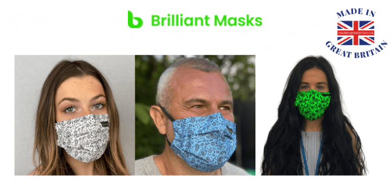 two women and a man wearing the new brilliant face masks in paisley design that are made in uk and reusable,