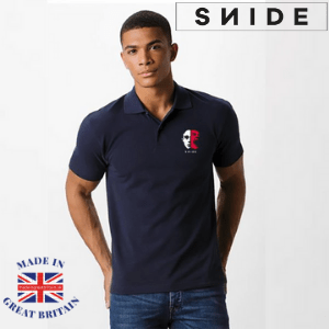 snide london, british made polo shirts, black young man wearing a navy blue jeckyll and hyde polo shirt by snide, polo shirts made ibritain, polo shirt brands