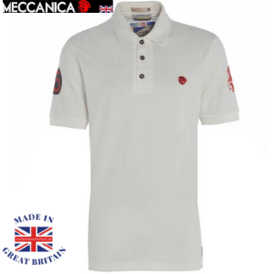 plain white polo shirt with 3 buttons collar by meccanica clothing, british made polo shirts