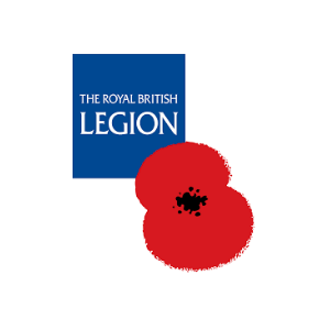 Royal British Legion logo with poppy, armed forces charity, british charity, donate to UK charity, poppy appeal, buy a poppy online,