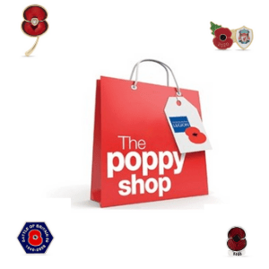 The Poppy Shop red paper bag with royal british legion label and surrounded by new style poppy, poppy appeal, buy a poppy online, donate to uk charity, royal british legion