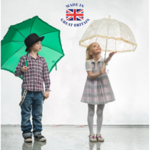 children holding umbrellas by a lake dressed in autumn clothes that are made in great britain, British Business directory, british clothing brands kidswear, british clothing brands, uk made