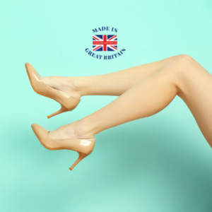 British made women's shoes, woman's legs wearing a pair of beige heals made in uk,