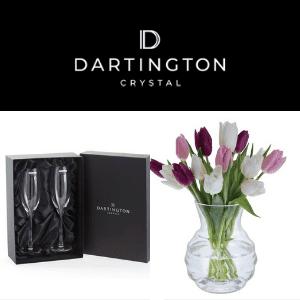 dartington crystal wine glasses and crystal vase of flowers