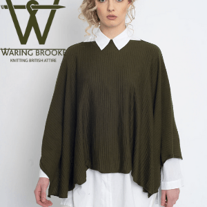 waring brooke, woman wearing olive green poncho by waring brooke autumn winter collection, british women's clothing, women's clothes made in britain