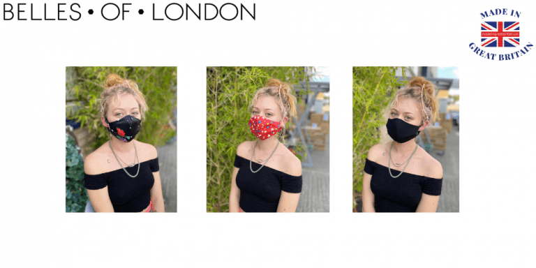 belles of london luxe face masks ethically made in uk, woman wearing luxury face mask by belles of london