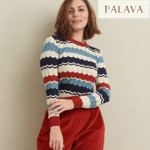palava vintage inspired clothing, woman in striped jumper with red corduroy trousers by palava, women's clothes made in britain