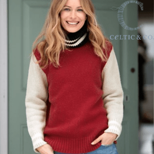 celtic and co, woman wearing knitted jumper from celtic and co ethically sourced and made, women's clothes made in britain