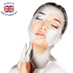 woman applying skincream beauty products in hexagon style photo, buy christmas presents made in uk, british made christmas beauty sets, christmas gift shop uk, british made christmas gifts