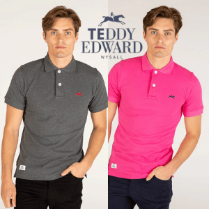 young white male wearing a teddy edward classic george short sleeve polo shirt in grey with teddy edward polo logo, polo shirt brands, polo shirts made in britain