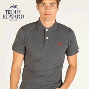 young man wearing a grey george men's teddy edward polo shirt with short sleeves, british made men's clothing