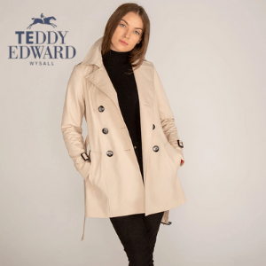 young woman in beige button overcoat by teddy edward, british made women's clothing, women's clothes made in britain