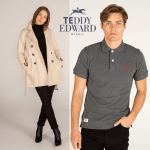 man and woman wearing teddy edward luxury clothes