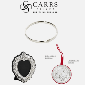 carrs of sheffield, silver gifts, silver bracelet silver photo frame and silver partridge in a pear tree christmas decoration