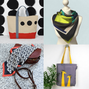 british artisan tote bags shopping bags and silk scarf accessories,